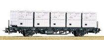 Товарен вагон с контейнери - Lb4010 - ЖП модел -