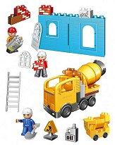 Строителна площадка с бетоновоз - Детски конструктор с големи елементи в пластмасова кутия -