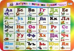 Двустранно учебно табло: Азбука с печатни букви. Азбука с ръкописни букви -
