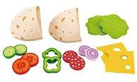 Направи сандвич - Комплект дървени фигури - кутия за храна
