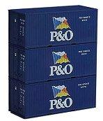 Контейнери за товарни вагони - P&O - ЖП модел - комплект от 3 бр. -