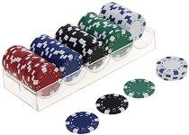 Чипове за покер - 100 броя - Комплект с поставка за съхранение -