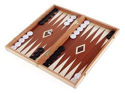 Кутия за шах и табла - Комплект с пластмасови пулове -