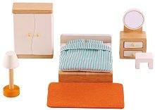 Спалня - Дървени мебели за кукленска къща - образователен комплект