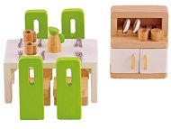 Мебели за трапезария - Дървено обзавеждане за къщи за кукли - играчка