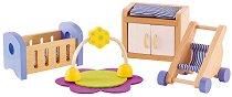 Мебели за бебешка стая - Дървено обзавеждане за куклена къща -