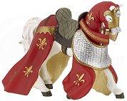 Кон с червени одежди - Фигура от серията Рицари - фигура