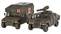 Военен джип с оръдие HMMWV M966 и военна линейка M997 - Сглобяеми модели -