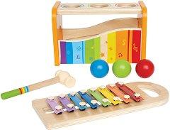 Ксилофон и чукче с топчета - Комплект музикални инструменти от дърво -