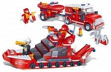 Пожарна и спасителна лодка - Детски конструктор - играчка