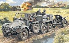 Военен камион Krupp L2H143 с противотанково оръдие Pak 36 - Сглобяем модел -