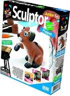 """Създай сам фигурка от глина - Кученце - Творчески комплект от серията """"Sculptor"""" - творчески комплект"""