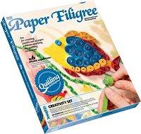 """Създай сам квилинг картина - Аквариум - Творчески комплект от серията """"Paper Filigree"""" - количка"""