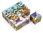 """Ежко Бързобежко - Дървени кубчета от серията """"Любими детски приказки"""" - играчка"""