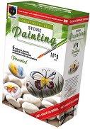 Рисувай върху камъчета - Цветна поляна - творчески комплект