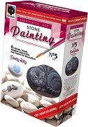 """Рисувай върху камъчета - Котарак и мишка - Творчески комплект от серията """"Stone Painting"""" - творчески комплект"""