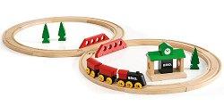 Влакче с релси - Дървена играчка - играчка