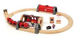 Влакче - метро с релси - Дървена играчка -