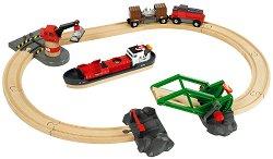 Детски влак с релси, кораб и карго аксесоари - Дървена играчка с аксесоари -