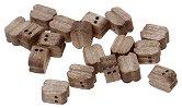 Комплект двойни блокове - 18 броя - Резервна част за корабни модели и макети от орехово дърво - продукт