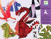 Сгъни сам картонени фигури - Дракони - Творчески комплект с оригами - играчка
