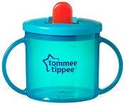 """Синя неразливаща се чаша с прибиращ се накрайник - Essential First Cup 190 ml - От серия """"Explora"""" за бебета над 4 месеца - чаша"""