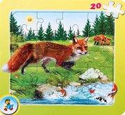 Колекция диви животни: Лисица - Пъзел в картонена подложка - Златното пате -