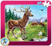 Колекция диви животни: Елен - Пъзел в картонена подложка - Златното пате -