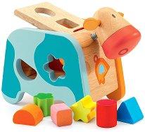Крава с формички - Дървена играчка - играчка