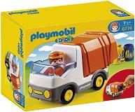 """Камион за отпадъци - Детски конструктор от серията """"Playmobil: 1.2.3"""" - играчка"""