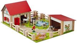 Ферма с животни - Дървена играчка с аксесоари - играчка