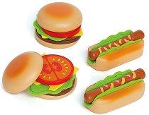 Направи хамбургер и хотдог - Детска играчка от дърво -