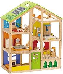 Обзаведена къща за кукли - Сезони - Дървена играчка - раница