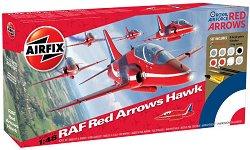 Изтребител  - Red Arrows Hawk - Сглобяем авиомодел - комплект с лепило и боички -