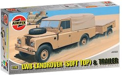Военен джип - LWB Landrover (Soft Top) and Trailer - Сглобяем модел -
