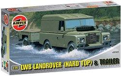 Военен джип - LWB Landrover (Hard Top) and Trailer - Сглобяем модел -