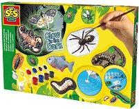 Създай и оцвети - Животни със светеща боя - Творчески комплект - играчка