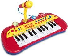 Електронен синтезатор с 24 клавиша и микрофон - Детски музикален инструмент със светлинни ефекти - играчка