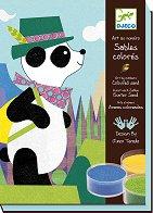 Оцветявай с цветен пясък - Панда и приятели - Творчески комплект за рисуване - играчка