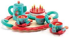 Чаено парти - Детски комплект за сервиране от дърво - кукла