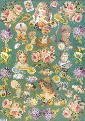 Декупажна хартия - Цветя и деца на зелен фон 031