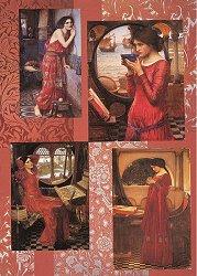 Декупажна хартия - Жена в червено 069 - Дизайн на Anne Zada