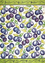 Декупажна хартия - Сини сливи 223 - Дизайн на Janet Eadie