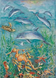Декупажна хартия - Делфини и морски кончета 557