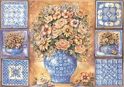 Декупажна хартия - Рози в синьо 560 - Дизайн на Mignon Clift
