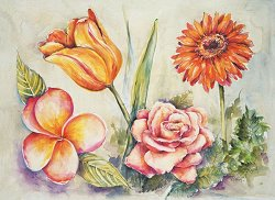 Декупажна хартия - Големи цветя 620