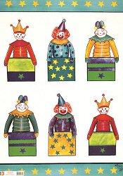 Декупажна хартия - Клоуни в кутийки 329 - Дизайн на Karen Kiely