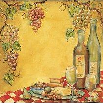 Хартия за скрапбукинг - Вино и сирене SB12 - Дизайн на Mignon Clift