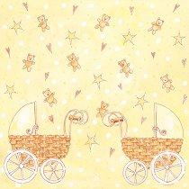 Хартия за скрапбукинг - Бебешки колички SB72 - Дизайн на Mignon Clift