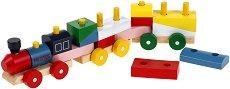 Влакче - Пино Експрес - Детски дървен конструктор - играчка